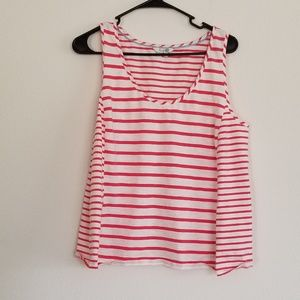 Boden Red and White Striped Sleeveless Top